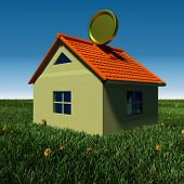 stock photo of household  - household savings conceptual illustration of house on grass field - JPG