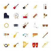picture of bongo  - Musical Instruments Isolated Flat Design Vector Icons Collection - JPG