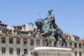 picture of dom  - Statue of Dom Joao I in Praca da Figueira in Rossio in Lisbon City - JPG