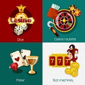 image of coin slot  - Casino design concept set with dice roulette poker slot machine icons isolated vector illustration - JPG