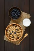 picture of cereal bowl  - Dried berry and oatmeal breakfast cereal with fresh blueberries in wooden bowl with a glass of milk photographed overhead on dark wood with natural light - JPG