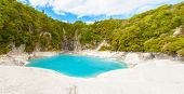 stock photo of infernos  - Incredibly blue and highly acidic Inferno Crater Lake at Waimangu geothermal area - JPG