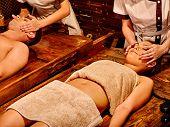 foto of panchakarma  - Couple  having oil Ayurveda spa treatment - JPG