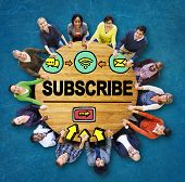 stock photo of follow-up  - Subscribe Follow Registration Support Media Concept - JPG