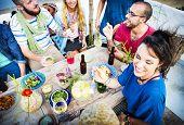 foto of beach party  - Beach Summer Dinner Party Celebration Concept - JPG