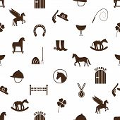 stock photo of winged-horse  - brown simple horse theme icons seamless pattern eps10 - JPG