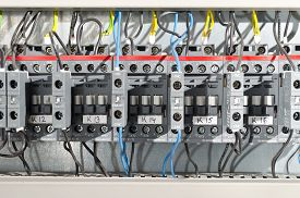 image of contactor  - Electrical panel at a assembly line factory - JPG