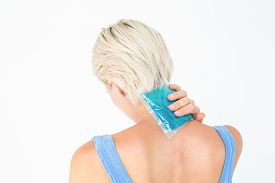 picture of gels  - Blonde woman putting gel pack on neck on white background - JPG