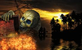 image of pirates  - Pirate skeleton in the caribbeans  - JPG