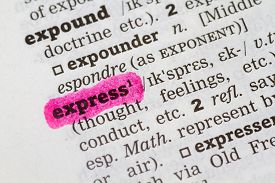 stock photo of pronunciation  - A Dictionary definition of the word express - JPG