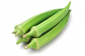 picture of okra  - Bunch of Fresh Okra on White Background - JPG