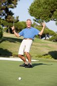 Senior Male Golfer On Golf Course Putting On Green