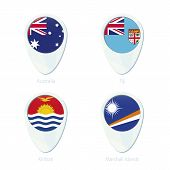 Постер, плакат: Australia Fiji Kiribati Marshall Islands Flag Location Map Pin Icon