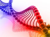 Digital illustration of dna structure in 3d on COLOR background