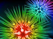 Digital illustration of flu VIRUS in 3d on digital background
