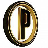 Gold Black Font Letter p