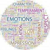 EMOTIONS. Word collage on white background. Vector illustration. Illustration with different associa