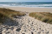 Sandy Path To The Beach At Sennen Cove, Cornwall, Uk.