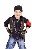 Shot of a little boy singing rock music in studio. Isolated over white background.