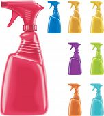foto of trigger sprayer bottle  - Vector sprayer bottles in 8 colors - JPG