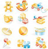 Toys icon set. Vector version
