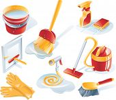 stock photo of cleaning agents  - Vector cleaning icon set - JPG