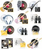 Vector highly detailed musical icon set