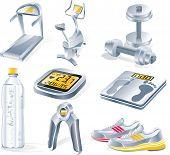 Raster version of fitness equipment icon set