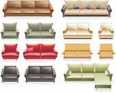 Vektor-Möbel-Icon-Set. Sofas