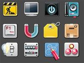 Vector universal square icons. Part 5 (gray background)
