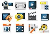 Vídeo icon set vector