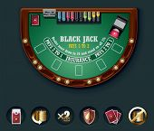 Layout de tabela do vetor blackjack