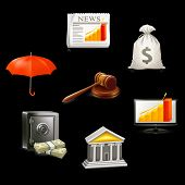 Business icon set on black, vector
