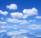 Beautiful Summer Sky With Water Reflection poster