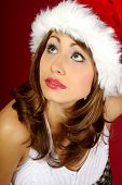 Christmas girl over red background