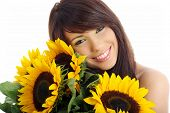 Beautiful  girl with sunflowers