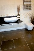 foto of lavabo  - Modern beige bathroom design with ceramics decoration - JPG
