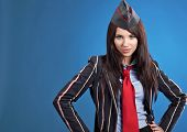 stock photo of air hostess  - Beautiful air hostess - JPG