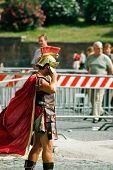 Roman legioner with cellular phone.