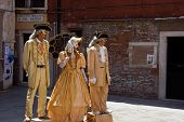 Street actors in suits of 17 centuries. Italy. Venice.
