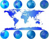 Set of world globes for design use poster