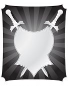 Medieval vector shield and swords for design use