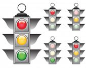 Ful signals set of vector traffic lights