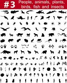 Set # 3. Gran colección de siluetas de vector de collage de personas, animales, aves, pescado, flores y yo