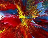 Original Abstract Red Blue Yellow White 005