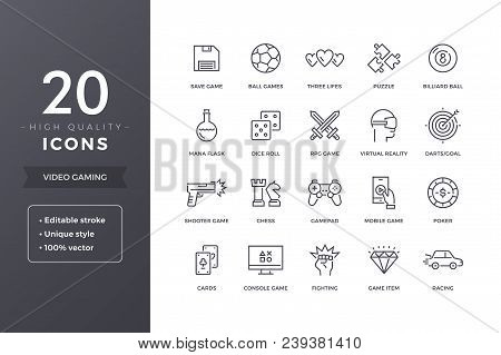 poster of Video Game Line Icons.  Gaming And Computer Games Icon Set With Editable Stroke