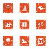 Expedition Icons Set. Grunge Set Of 9 Expedition Vector Icons For Web Isolated On White Background poster
