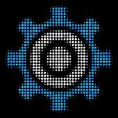 Cogwheel Halftone Vector Icon. Illustration Style Is Dot Iconic Cogwheel Symbol On A Black Backgroun poster