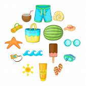 Summer Items Icons Set. Cartoon Illustration Of 16 Summer Items Vector Icons For Web poster