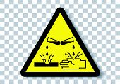Vector Design Of Corrosive Material Warning Sign poster